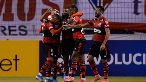 El festejo de los jugadores de Flamengo.